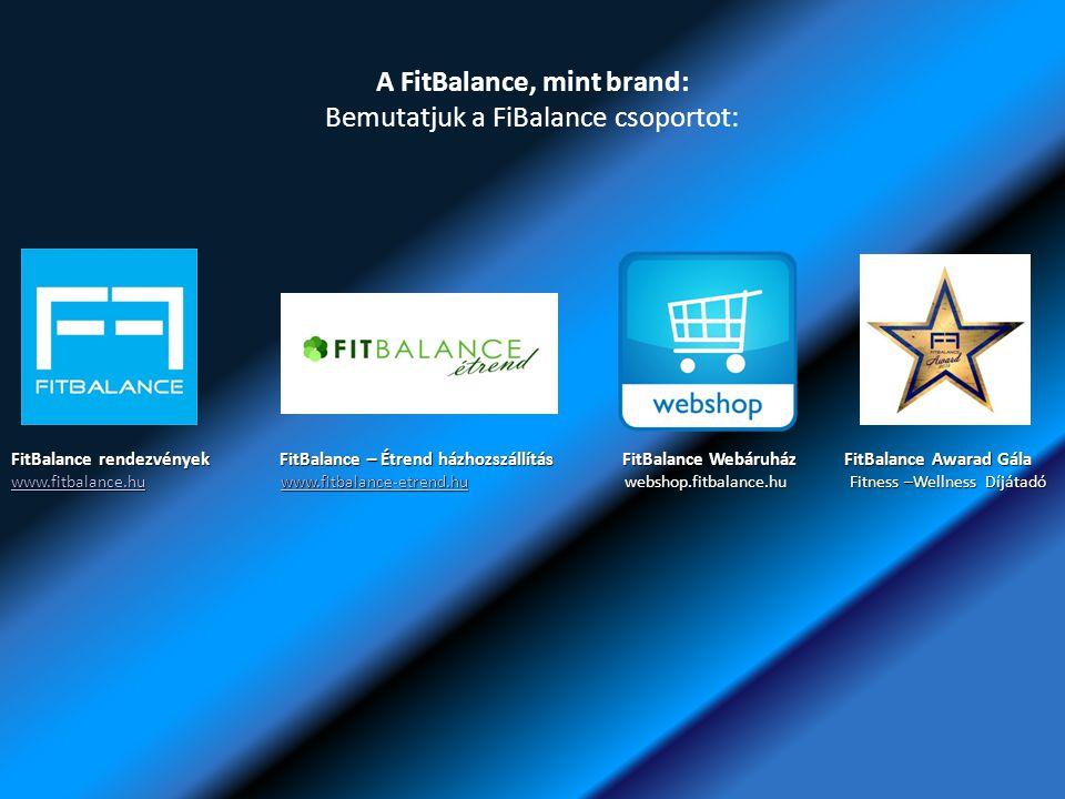 A FitBalance, mint brand: Bemutatjuk a FiBalance csoportot: FitBalance rendezvények FitBalance – Étrend házhozszállítás FitBalance Webáruház FitBalance Awarad Gála www.fitbalance.huwww.fitbalance.hu www.fitbalance-etrend.hu webshop.fitbalance.hu Fitness –Wellness Díjátadó www.fitbalance-etrend.hu www.fitbalance.huwww.fitbalance-etrend.hu