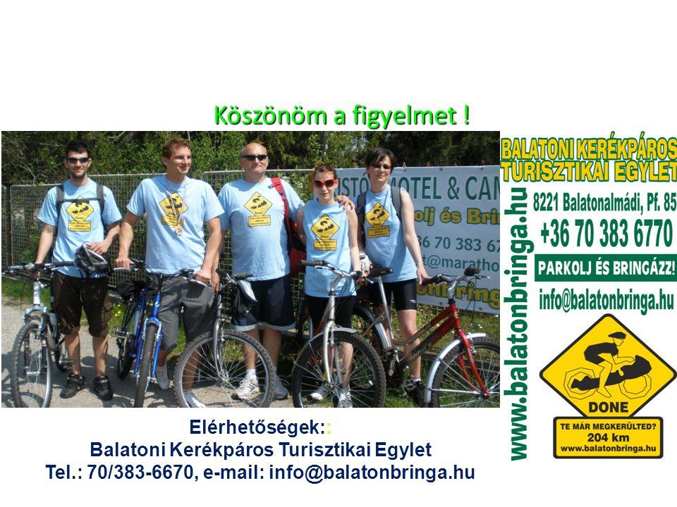 Köszönöm a figyelmet ! Köszönöm a figyelmet ! Elérhetőségek:: Balatoni Kerékpáros Turisztikai Egylet Tel.: 70/383-6670, e-mail: info@balatonbringa.hu