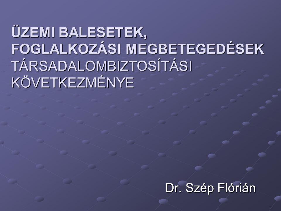 ÜZEMI BALESETEK, FOGLALKOZÁSI MEGBETEGEDÉSEK TÁRSADALOMBIZTOSÍTÁSI KÖVETKEZMÉNYE Dr. Szép Flórián