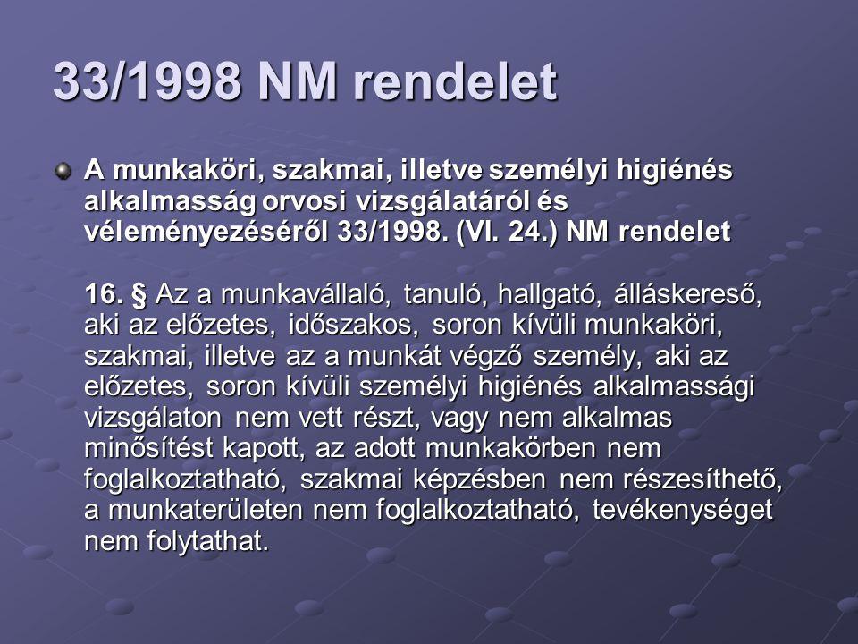 33/1998 NM rendelet A munkaköri, szakmai, illetve személyi higiénés alkalmasság orvosi vizsgálatáról és véleményezéséről 33/1998. (VI. 24.) NM rendele