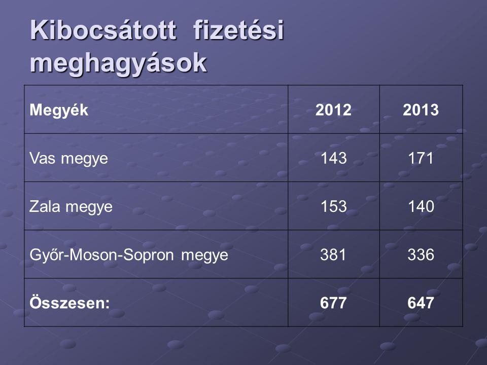 Kibocsátott fizetési meghagyások Megyék20122013 Vas megye143171 Zala megye153140 Győr-Moson-Sopron megye381336 Összesen:677647