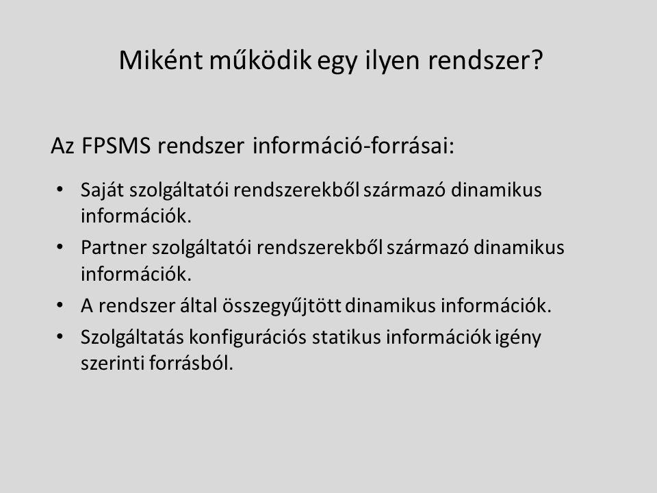 Az FPSMS rendszer információ-forrásai: Saját szolgáltatói rendszerekből származó dinamikus információk. Partner szolgáltatói rendszerekből származó di