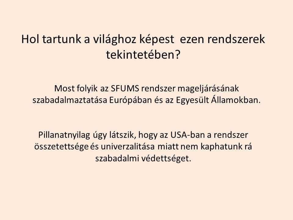 Most folyik az SFUMS rendszer mageljárásának szabadalmaztatása Európában és az Egyesült Államokban. Pillanatnyilag úgy látszik, hogy az USA-ban a rend