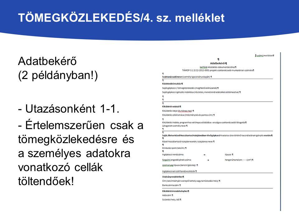 TÖMEGKÖZLEKEDÉS/4. sz. melléklet Adatbekérő (2 példányban!) - Utazásonként 1-1. - Értelemszerűen csak a tömegközlekedésre és a személyes adatokra vona