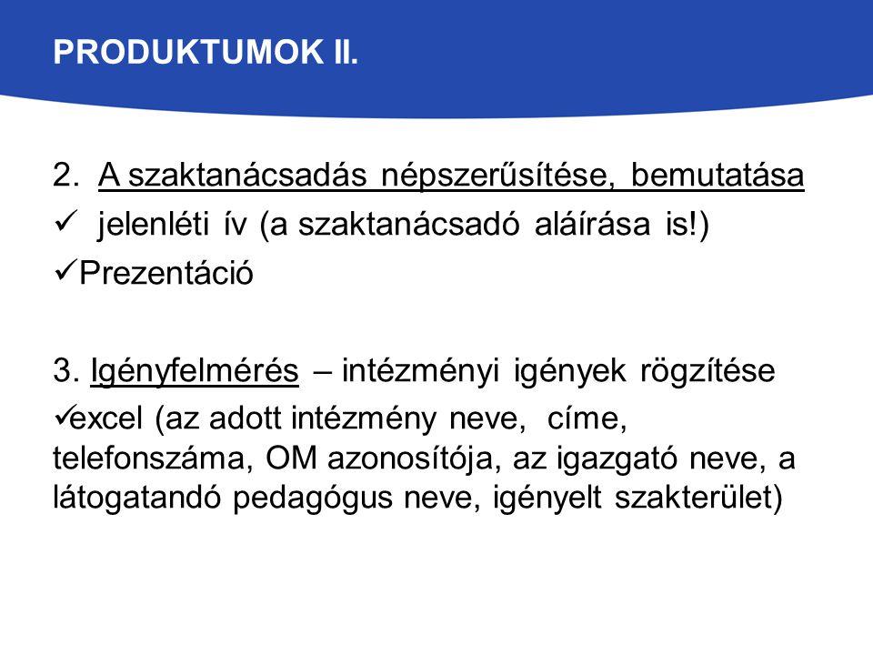 PRODUKTUMOK II. 2. A szaktanácsadás népszerűsítése, bemutatása jelenléti ív (a szaktanácsadó aláírása is!) Prezentáció 3. Igényfelmérés – intézményi i