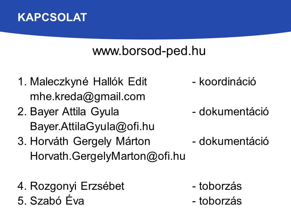 KAPCSOLAT www.borsod-ped.hu 1. Maleczkyné Hallók Edit- koordináció mhe.kreda@gmail.com 2. Bayer Attila Gyula- dokumentáció Bayer.AttilaGyula@ofi.hu 3.