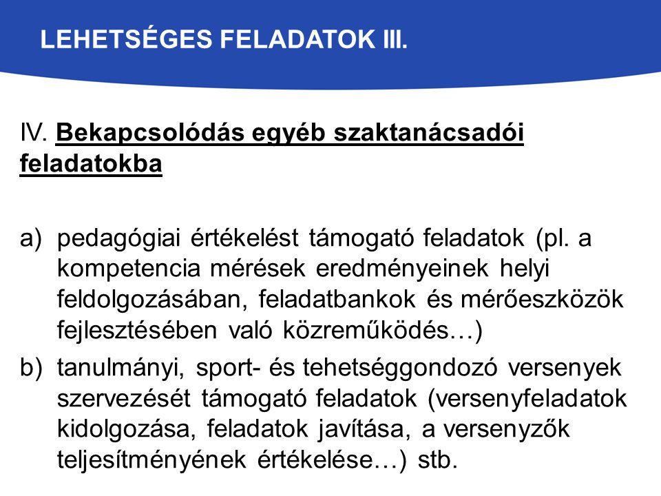 LEHETSÉGES FELADATOK III. IV. Bekapcsolódás egyéb szaktanácsadói feladatokba a)pedagógiai értékelést támogató feladatok (pl. a kompetencia mérések ere