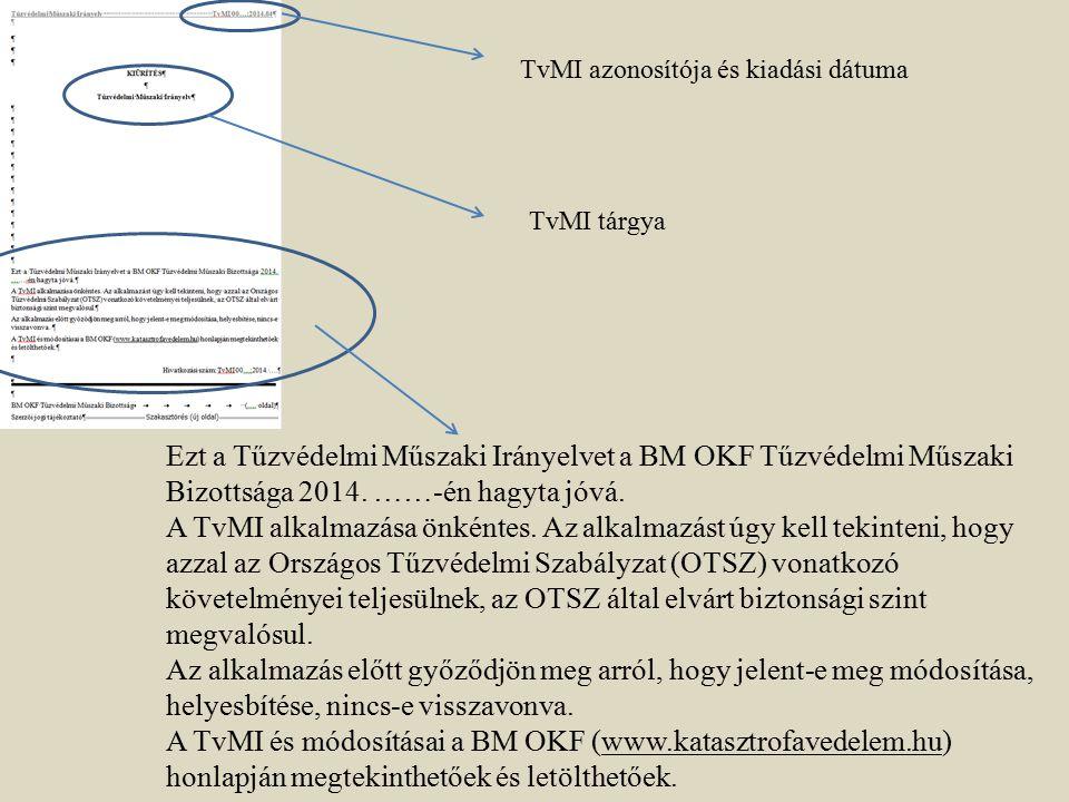 Ezt a Tűzvédelmi Műszaki Irányelvet a BM OKF Tűzvédelmi Műszaki Bizottsága 2014. ……-én hagyta jóvá. A TvMI alkalmazása önkéntes. Az alkalmazást úgy ke