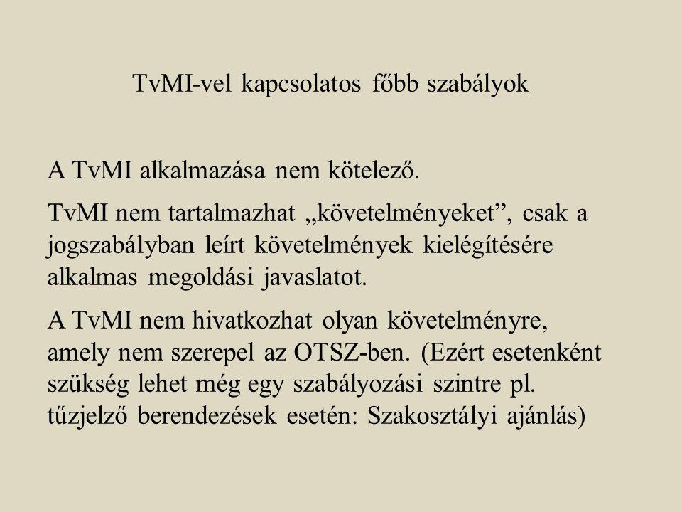 """TvMI-vel kapcsolatos főbb szabályok A TvMI alkalmazása nem kötelező. TvMI nem tartalmazhat """"követelményeket"""", csak a jogszabályban leírt követelmények"""