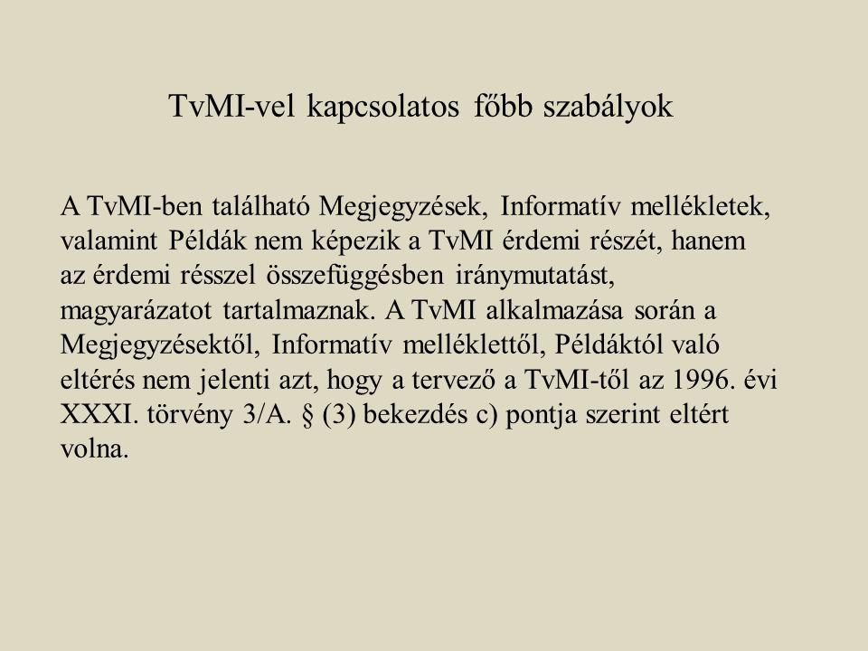TvMI-vel kapcsolatos főbb szabályok A TvMI-ben található Megjegyzések, Informatív mellékletek, valamint Példák nem képezik a TvMI érdemi részét, hanem