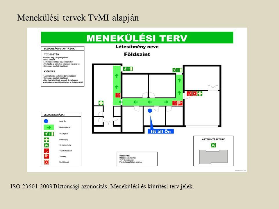 ISO 23601:2009 Biztonsági azonosítás. Menekülési és kiürítési terv jelek. Menekülési tervek TvMI alapján