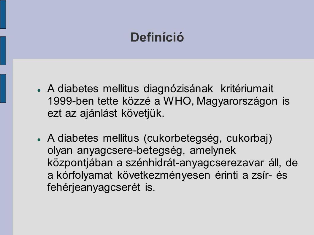 Definíció A diabetes mellitus diagnózisának kritériumait 1999-ben tette közzé a WHO, Magyarországon is ezt az ajánlást követjük. A diabetes mellitus (