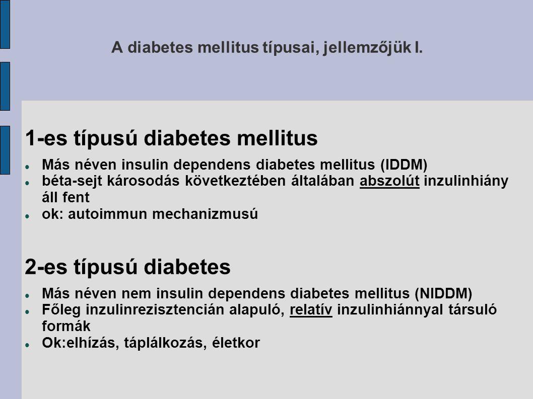 A diabetes mellitus típusai, jellemzőjük I. 1-es típusú diabetes mellitus Más néven insulin dependens diabetes mellitus (IDDM) béta-sejt károsodás köv