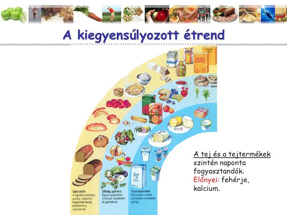 Magyar Dietetikusok Országos Szövetsége 10 A kiegyensúlyozott étrend A tej és a tejtermékek szintén naponta fogyasztandók. Előnyei: fehérje, kalcium.