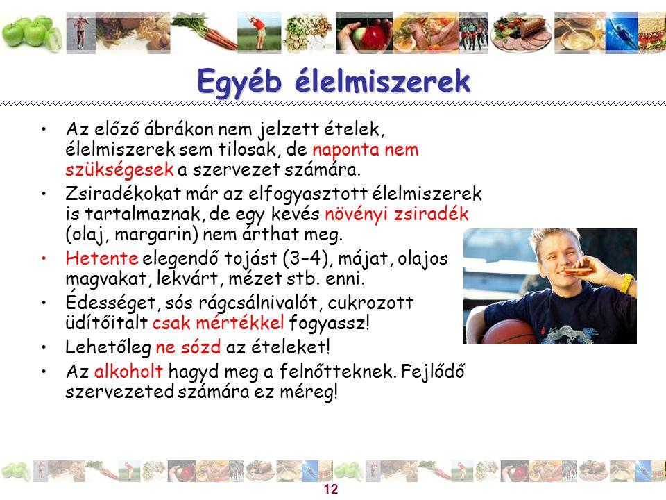 Magyar Dietetikusok Országos Szövetsége 12 Egyéb élelmiszerek Az előző ábrákon nem jelzett ételek, élelmiszerek sem tilosak, de naponta nem szükségese
