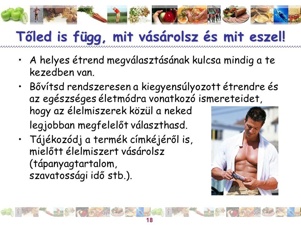 Magyar Dietetikusok Országos Szövetsége 18 Tőled is függ, mit vásárolsz és mit eszel! A helyes étrend megválasztásának kulcsa mindig a te kezedben van