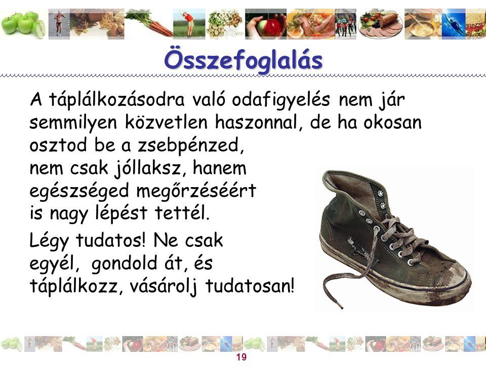 Magyar Dietetikusok Országos Szövetsége 19 Összefoglalás A táplálkozásodra való odafigyelés nem jár semmilyen közvetlen haszonnal, de ha okosan osztod