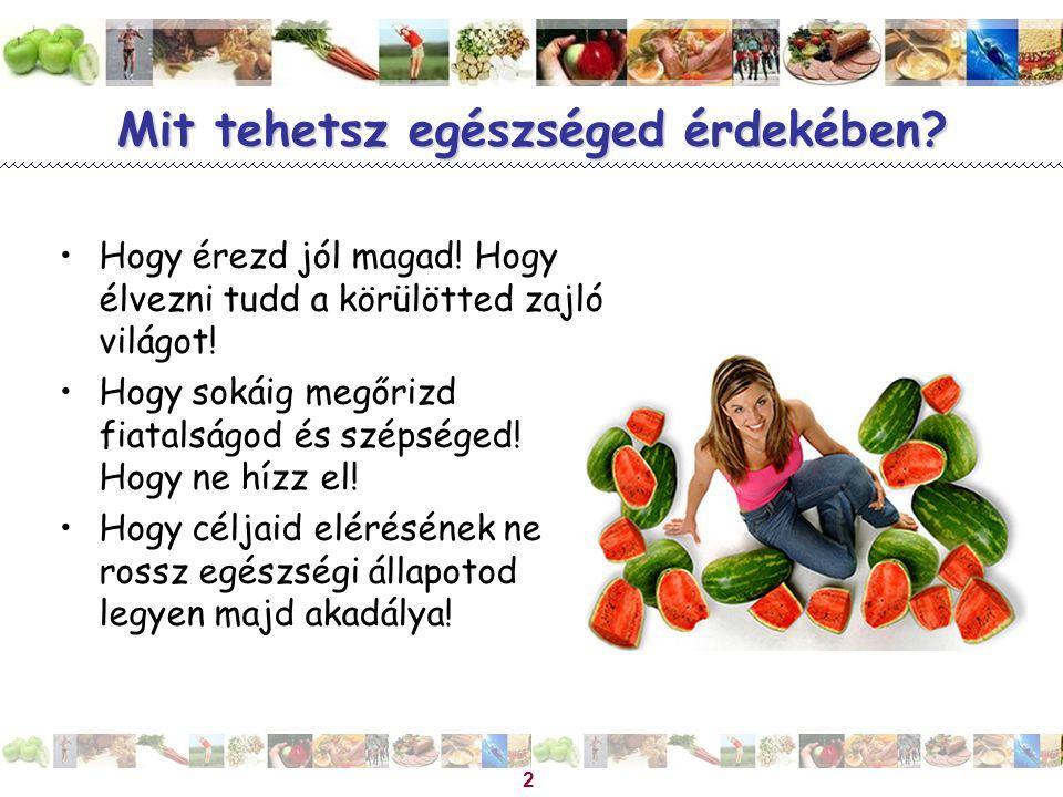 Magyar Dietetikusok Országos Szövetsége 2 Mit tehetsz egészséged érdekében? Hogy érezd jól magad! Hogy élvezni tudd a körülötted zajló világot! Hogy s