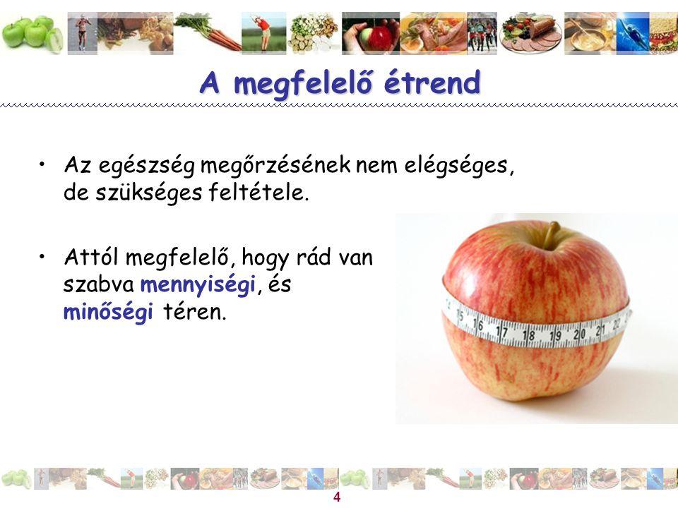 Magyar Dietetikusok Országos Szövetsége 4 A megfelelő étrend Az egészség megőrzésének nem elégséges, de szükséges feltétele. Attól megfelelő, hogy rád