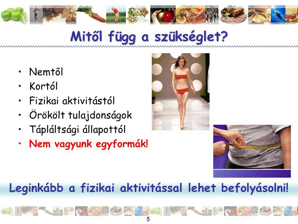 Magyar Dietetikusok Országos Szövetsége 5 Mitől függ a szükséglet? Nemtől Kortól Fizikai aktivitástól Örökölt tulajdonságok Tápláltsági állapottól Nem