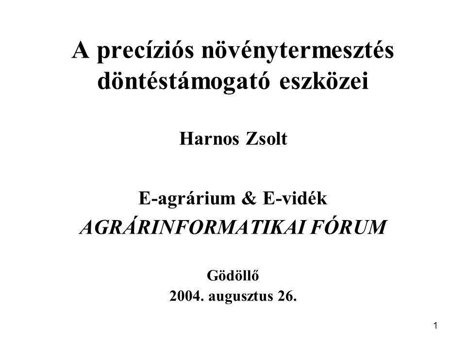 1 A precíziós növénytermesztés döntéstámogató eszközei Harnos Zsolt E-agrárium & E-vidék AGRÁRINFORMATIKAI FÓRUM Gödöllő 2004.