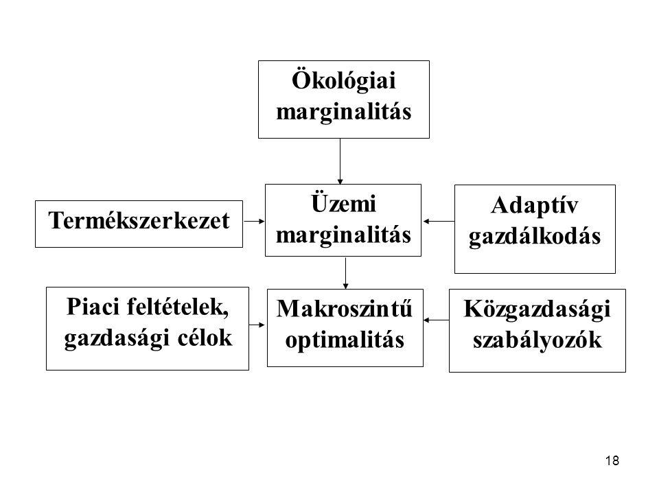 18 Ökológiai marginalitás Üzemi marginalitás Makroszintű optimalitás Termékszerkezet Piaci feltételek, gazdasági célok Adaptív gazdálkodás Közgazdasági szabályozók