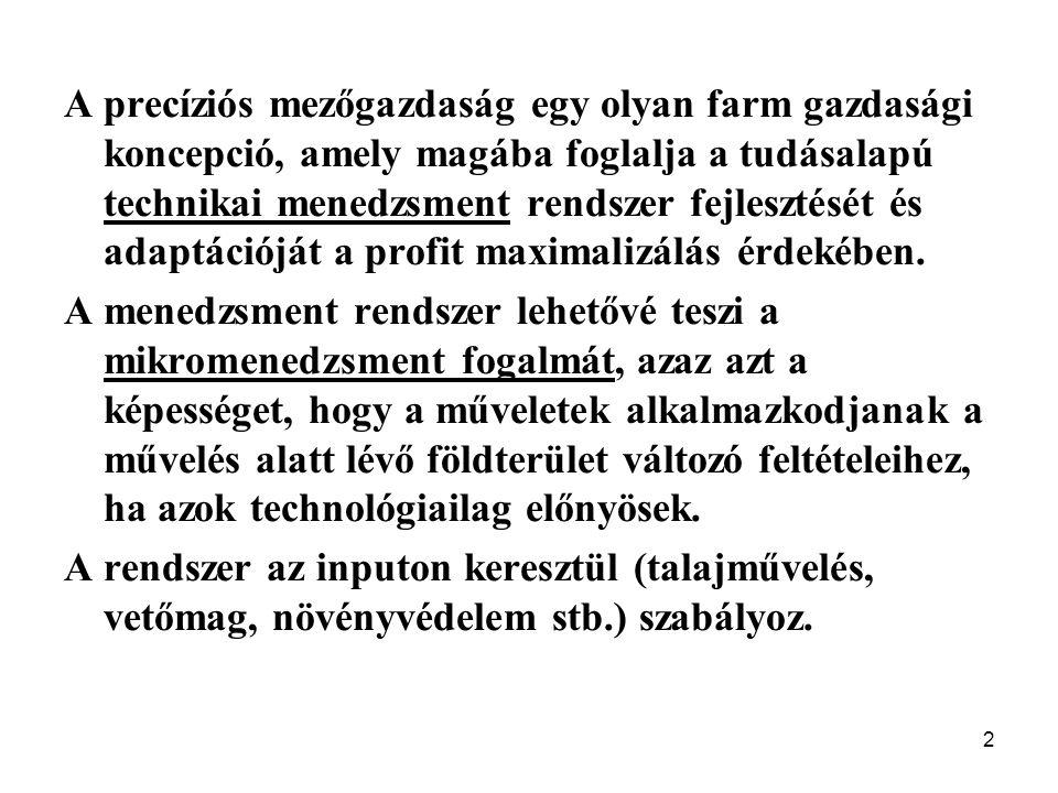 2 A precíziós mezőgazdaság egy olyan farm gazdasági koncepció, amely magába foglalja a tudásalapú technikai menedzsment rendszer fejlesztését és adaptációját a profit maximalizálás érdekében.