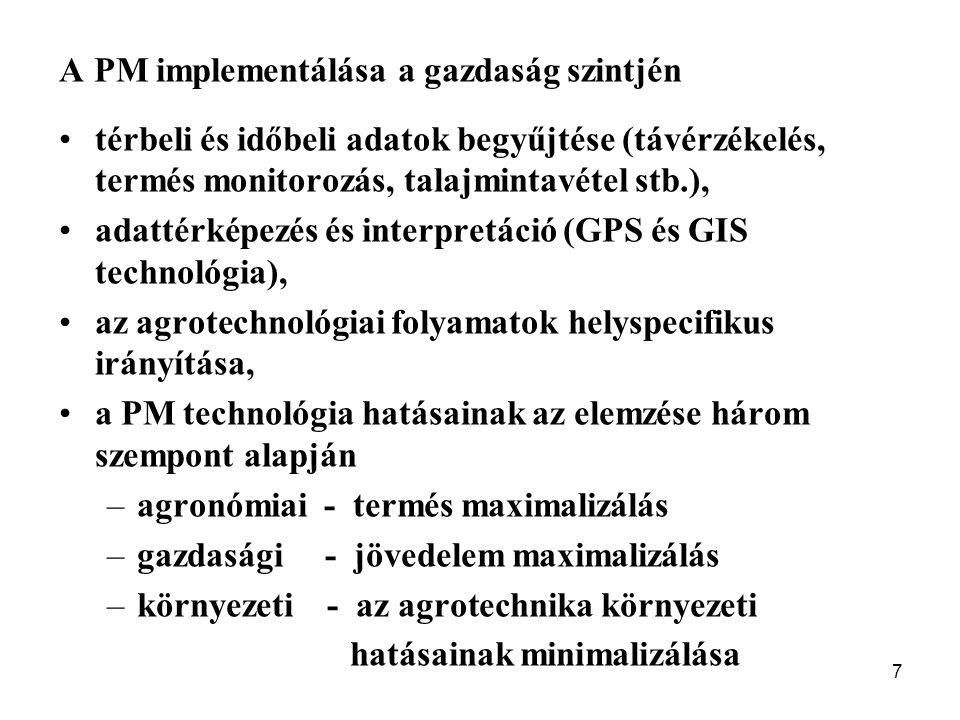 7 A PM implementálása a gazdaság szintjén térbeli és időbeli adatok begyűjtése (távérzékelés, termés monitorozás, talajmintavétel stb.), adattérképezés és interpretáció (GPS és GIS technológia), az agrotechnológiai folyamatok helyspecifikus irányítása, a PM technológia hatásainak az elemzése három szempont alapján –agronómiai - termés maximalizálás –gazdasági - jövedelem maximalizálás –környezeti - az agrotechnika környezeti hatásainak minimalizálása