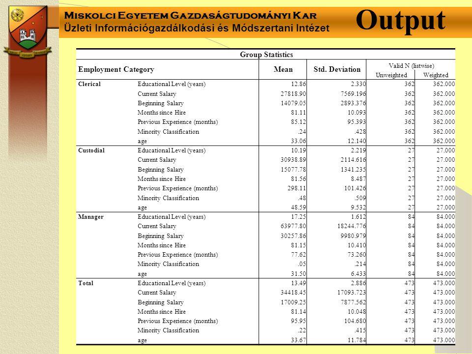 Miskolci Egyetem Gazdaságtudományi Kar Üzleti Információgazdálkodási és Módszertani Intézet Group Statistics Employment CategoryMeanStd. Deviation Val