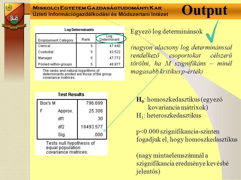 Miskolci Egyetem Gazdaságtudományi Kar Üzleti Információgazdálkodási és Módszertani Intézet Output Egyező log determinánsok (nagyon alacsony log determinánssal rendelkező csoportokat célszerű törölni, ha M szignifikáns – minél magasabb kritikus p-érték) H 0 : homoszkedasztikus (egyező kovariancia mátrixok) H 1 : heteroszkedasztikus p<0.000 szignifikancia-szinten fogadjuk el, hogy homoszkedasztikus (nagy mintaelemszámnál a szignifikancia eredménye kevésbé jelentős)