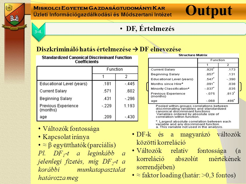 Miskolci Egyetem Gazdaságtudományi Kar Üzleti Információgazdálkodási és Módszertani Intézet Output 3-4.