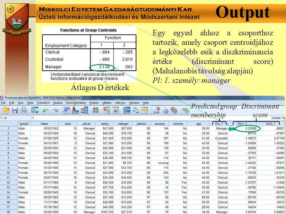 Miskolci Egyetem Gazdaságtudományi Kar Üzleti Információgazdálkodási és Módszertani Intézet Átlagos D értékek Output Egy egyed ahhoz a csoporthoz tart