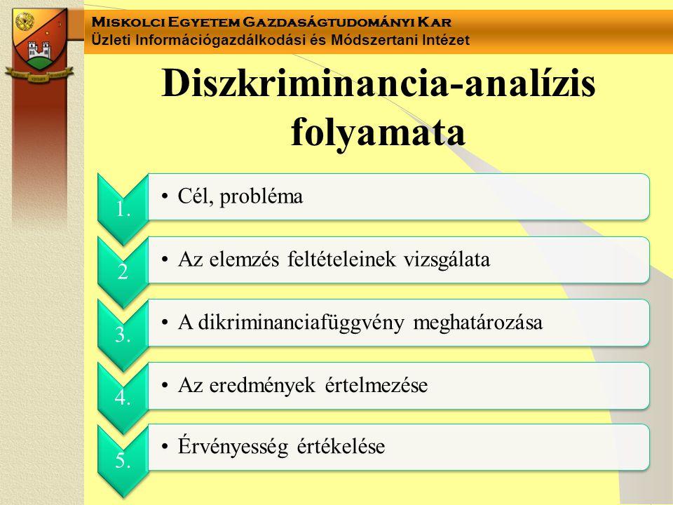 Miskolci Egyetem Gazdaságtudományi Kar Üzleti Információgazdálkodási és Módszertani Intézet Diszkriminancia-analízis folyamata 1. Cél, probléma 2 Az e