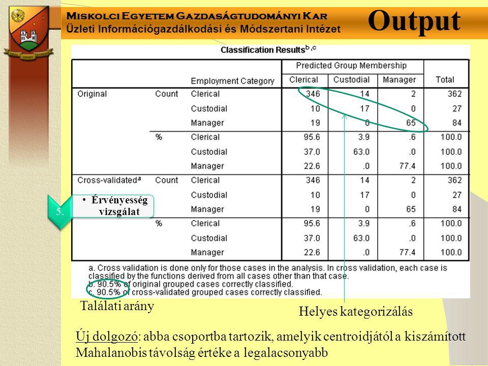 Miskolci Egyetem Gazdaságtudományi Kar Üzleti Információgazdálkodási és Módszertani Intézet Output 5. Érvényesség vizsgálat Találati arány Helyes kate