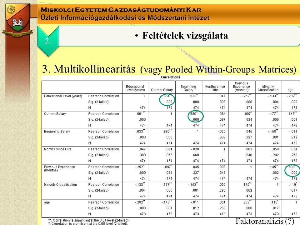 Miskolci Egyetem Gazdaságtudományi Kar Üzleti Információgazdálkodási és Módszertani Intézet 3. Multikollinearitás (vagy Pooled Within-Groups Matrices)