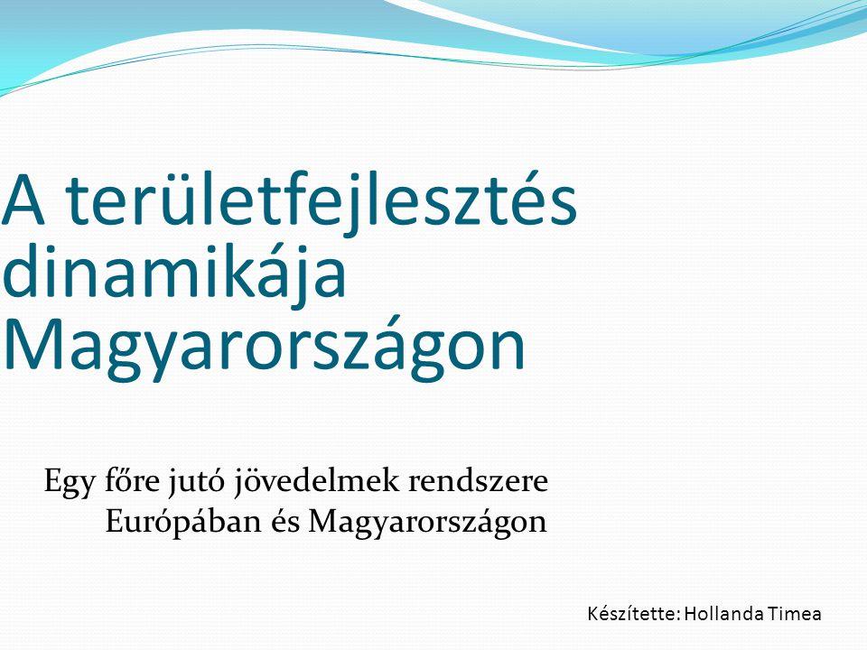 A területfejlesztés dinamikája Magyarországon Egy főre jutó jövedelmek rendszere Európában és Magyarországon Készítette: Hollanda Timea