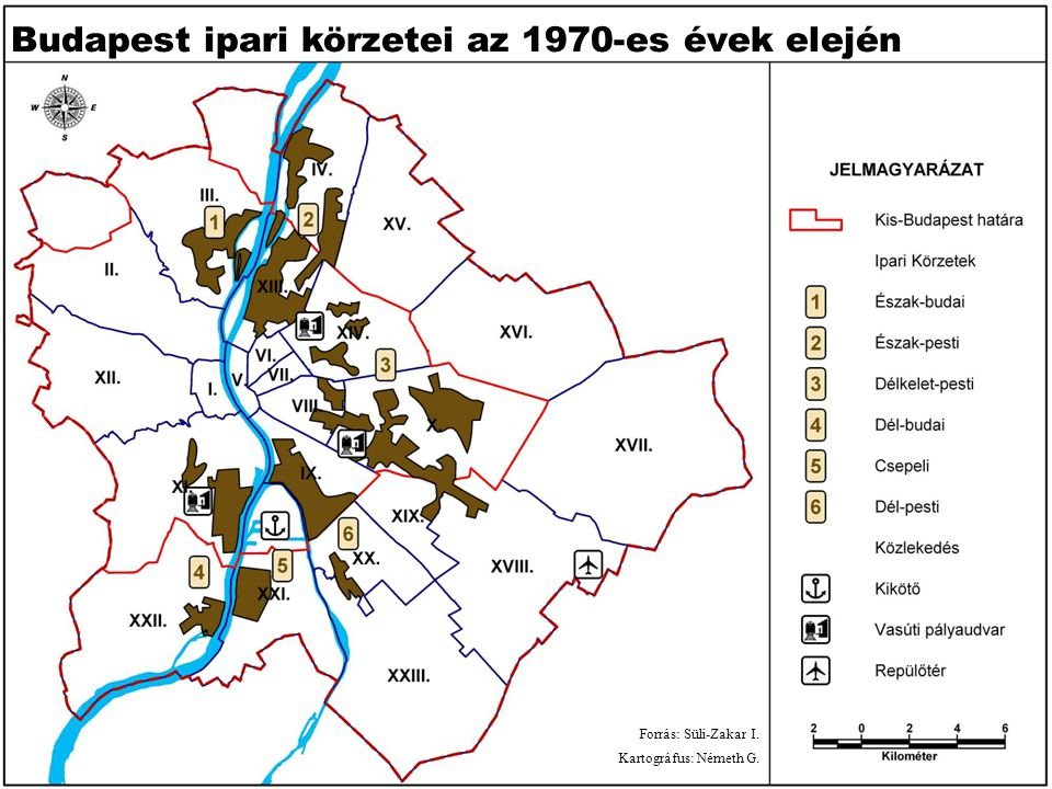 Budapest ipari körzetei az 1970-es évek elején Forrás: Süli-Zakar I. Kartográfus: Németh G.
