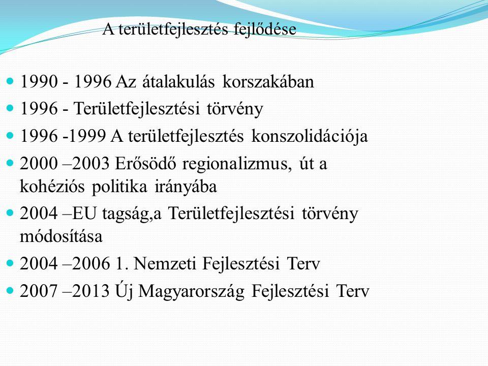 A területfejlesztés fejlődése 1990 - 1996 Az átalakulás korszakában 1996 - Területfejlesztési törvény 1996 -1999 A területfejlesztés konszolidációja 2000 –2003 Erősödő regionalizmus, út a kohéziós politika irányába 2004 –EU tagság,a Területfejlesztési törvény módosítása 2004 –2006 1.
