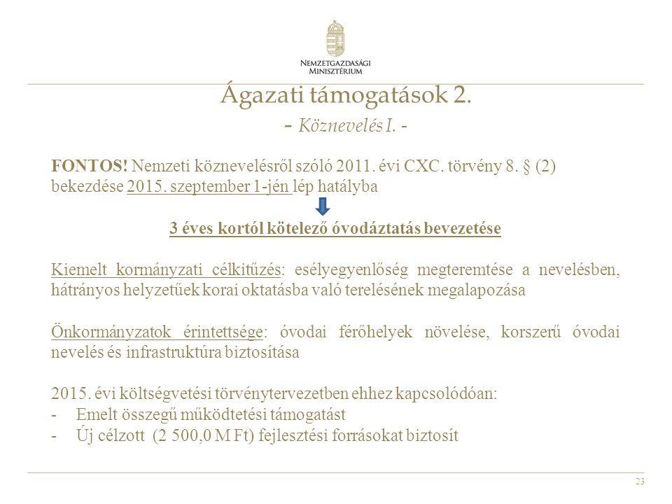 23 Ágazati támogatások 2. - Köznevelés I. - FONTOS! Nemzeti köznevelésről szóló 2011. évi CXC. törvény 8. § (2) bekezdése 2015. szeptember 1-jén lép h