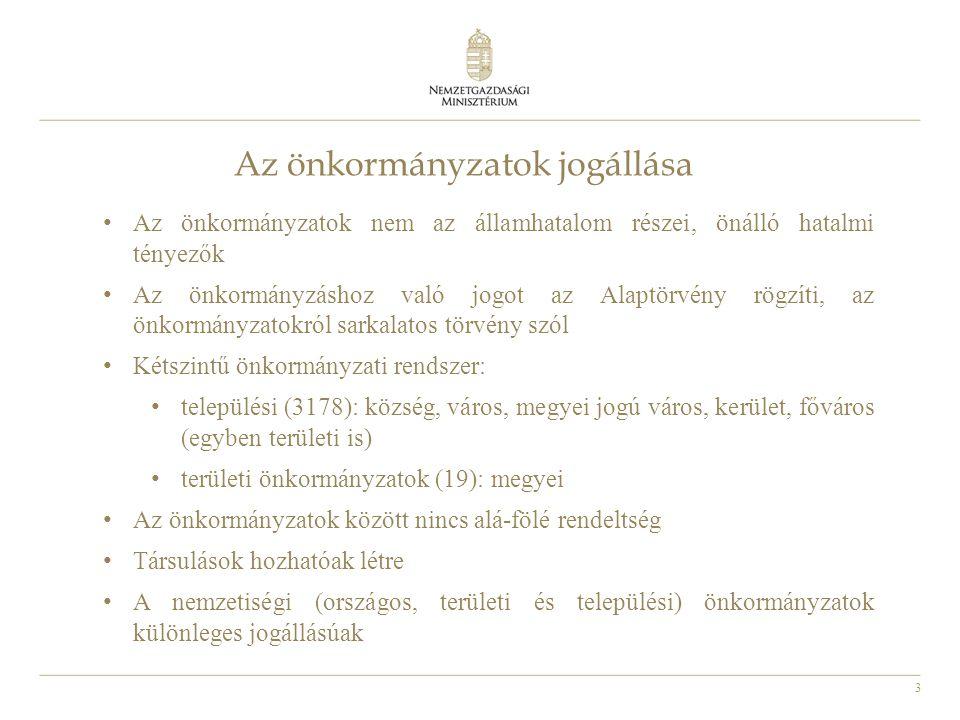3 Az önkormányzatok jogállása Az önkormányzatok nem az államhatalom részei, önálló hatalmi tényezők Az önkormányzáshoz való jogot az Alaptörvény rögzí