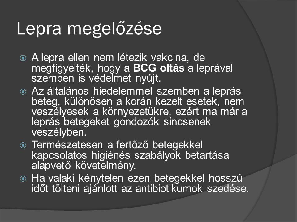 Lepra megelőzése  A lepra ellen nem létezik vakcina, de megfigyelték, hogy a BCG oltás a leprával szemben is védelmet nyújt.  Az általános hiedelemm