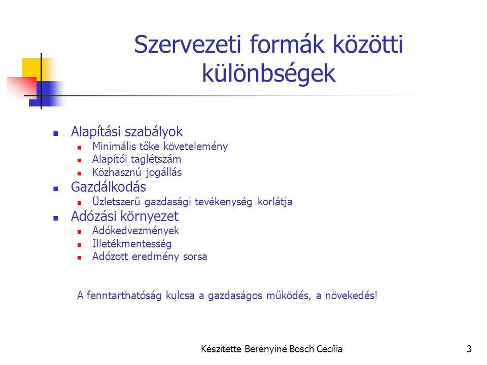 Készítette Berényiné Bosch Cecília4 Szervezeti formák összehasonlítása Alapítás Legfőbb különbségekKFT Nonprofit gazdasági társaság Szociális szövetkezet Civil szervezet Alapítvány - Egyesület Tőke jegyzett tőke min.