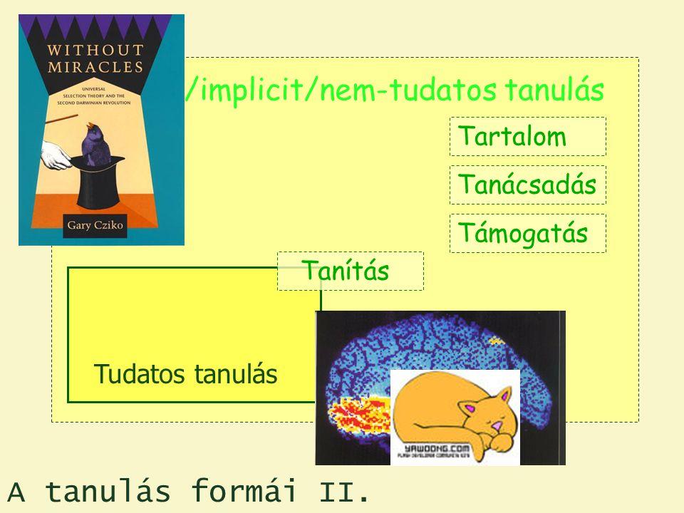 Random/implicit/nem-tudatos tanulás Tartalom Tanácsadás Támogatás Tudatos tanulás Tanítás A tanulás formái II.