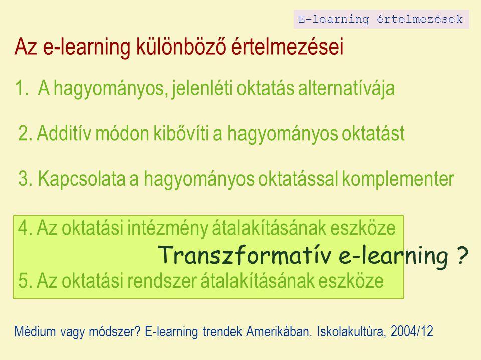 Az e-learning különböző értelmezései 1. A hagyományos, jelenléti oktatás alternatívája 2.