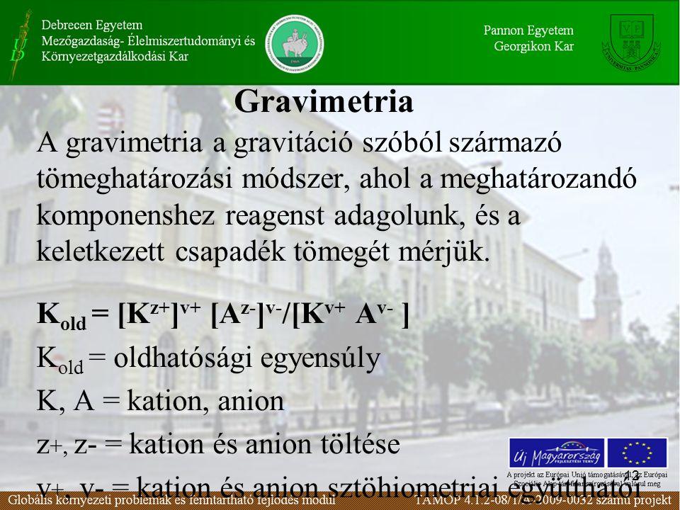 12 Gravimetria A gravimetria a gravitáció szóból származó tömeghatározási módszer, ahol a meghatározandó komponenshez reagenst adagolunk, és a keletkezett csapadék tömegét mérjük.