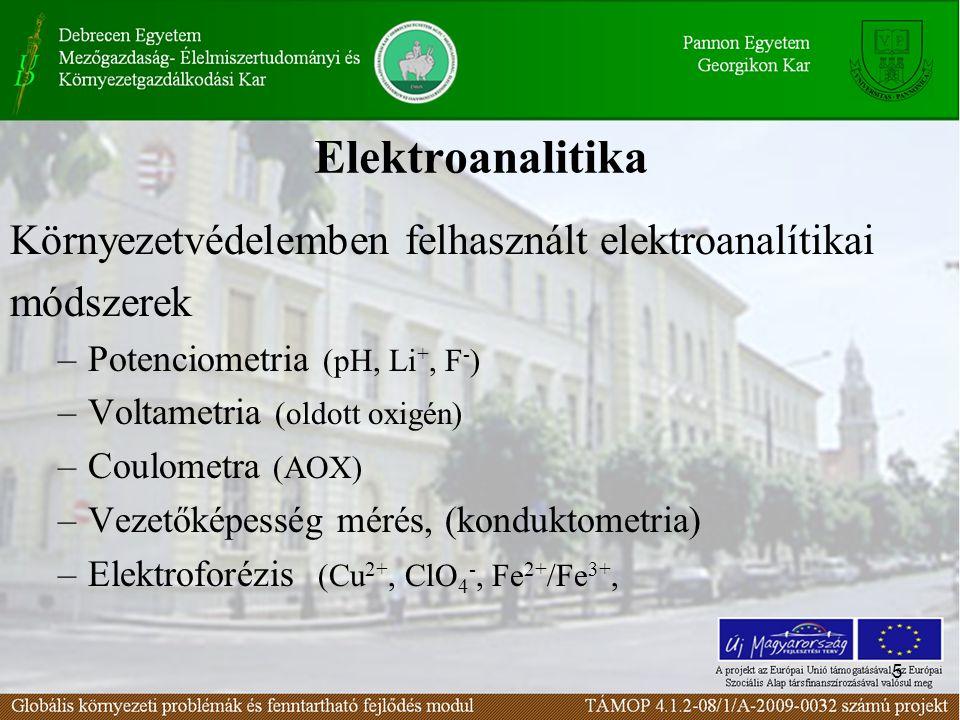 5 Elektroanalitika Környezetvédelemben felhasznált elektroanalítikai módszerek –Potenciometria (pH, Li +, F - ) –Voltametria (oldott oxigén) –Coulometra (AOX) –Vezetőképesség mérés, (konduktometria) –Elektroforézis (Cu 2+, ClO 4 -, Fe 2+ /Fe 3+,