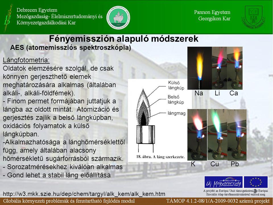 8 AES (atomemissziós spektroszkópia) Lángfotometria: Oldatok elemzésére szolgál, de csak könnyen gerjeszthető elemek meghatározására alkalmas (általában alkáli-, alkáli-földfémek).