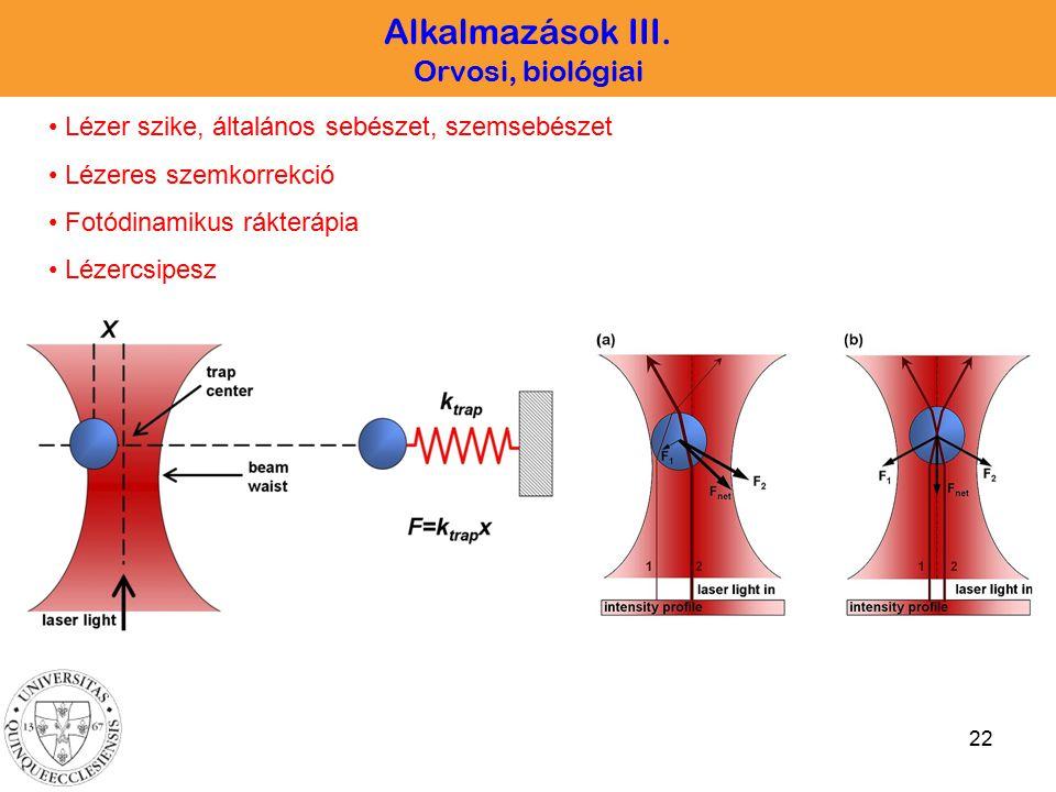 22 Alkalmazások III. Orvosi, biológiai Lézer szike, általános sebészet, szemsebészet Lézeres szemkorrekció Fotódinamikus rákterápia Lézercsipesz