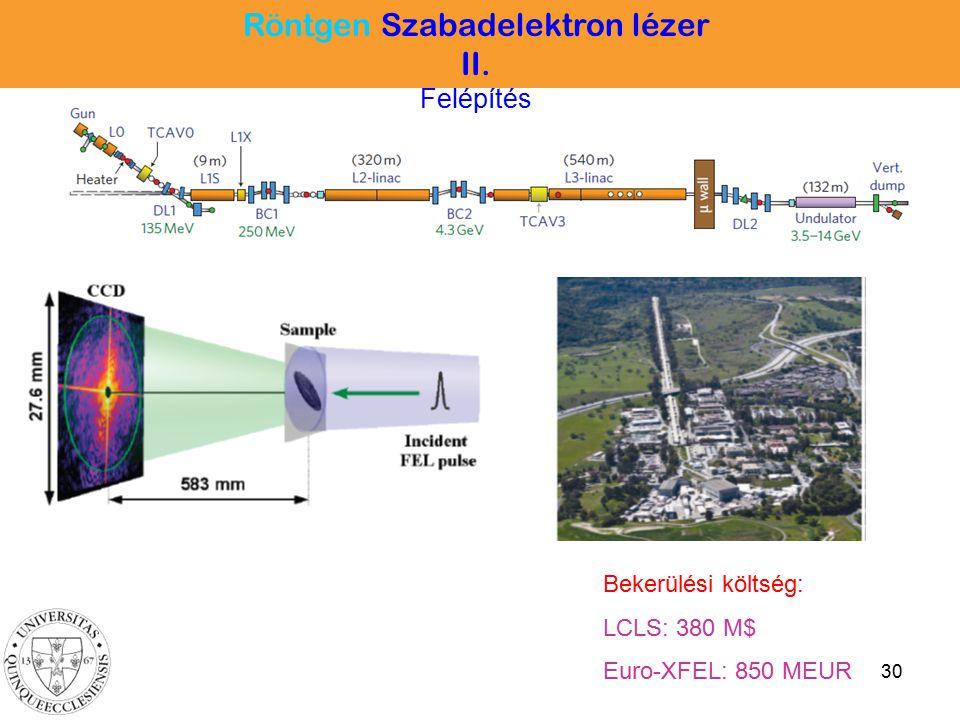 30 Bekerülési költség: LCLS: 380 M$ Euro-XFEL: 850 MEUR Röntgen Szabadelektron lézer II. Felépítés