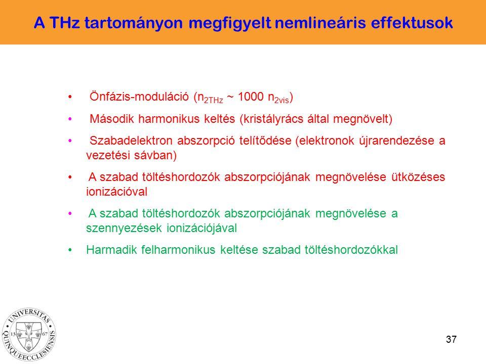 37 A THz tartományon megfigyelt nemlineáris effektusok Önfázis-moduláció (n 2THz ~ 1000 n 2vis ) Második harmonikus keltés (kristályrács által megnöve